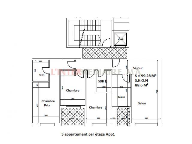 vente appartement moyen standing 100 M²