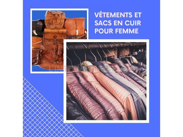 vêtements et sacs pour femme  en cuir