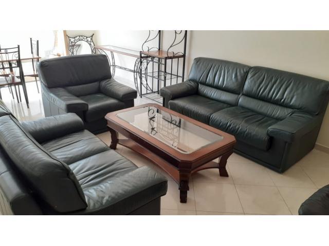 Vends salon en cuir avec table